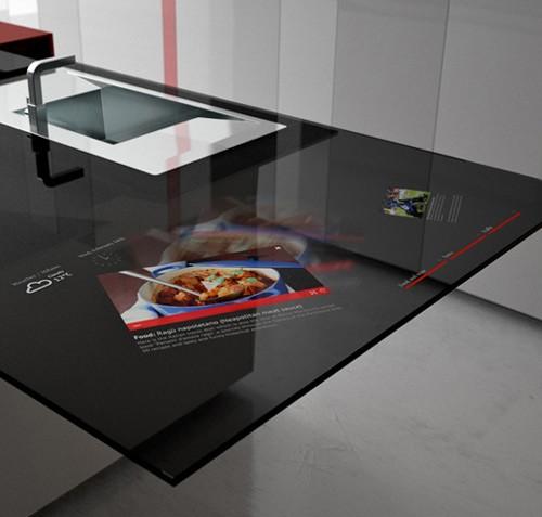 дизайн кухни со встроенным планшетом