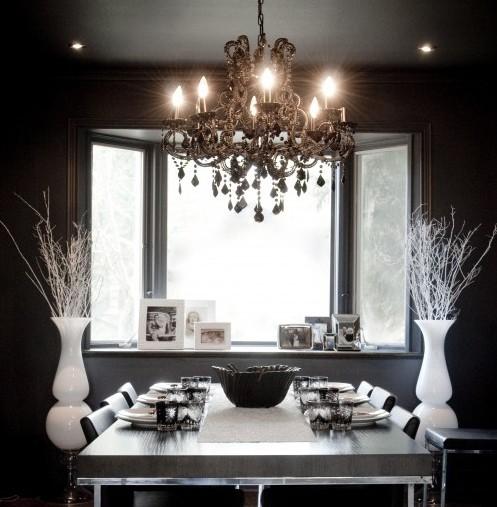стильный декор из веток в интерьере столовой
