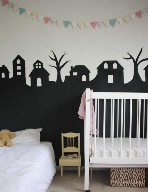 черно-белый интерьер для новорожденного