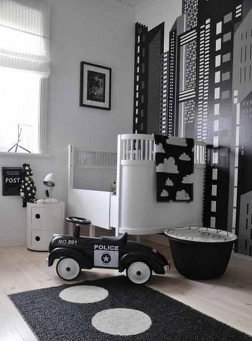 черно-белая комната для новорожденного