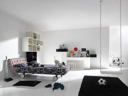 черно-белый текстиль в интерьере подростка