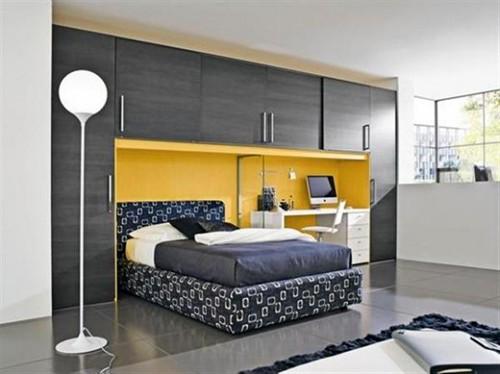 желтый цвет в черно-белой подростковой комнате
