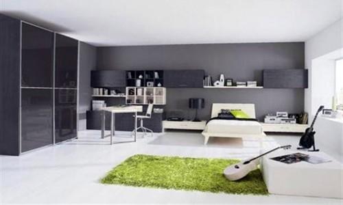 зеленые элементы в черно-белом интерьере подростка