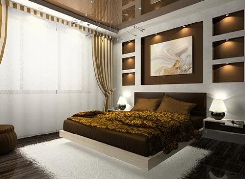 текстиль в интерьере маленькой спальни