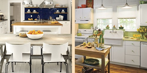 белая кухня с цветным кухонным фартуком