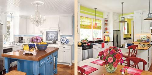 яркий декор белой кухни