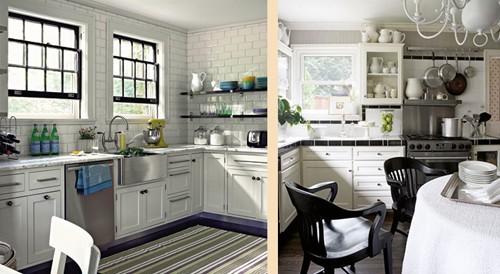 черные элементы в дизайне белой кухни