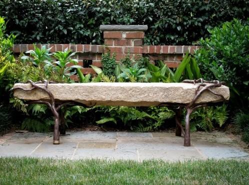 комбинированная садовая скамейка