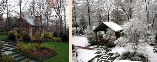 зимний и летний ландшафт сада