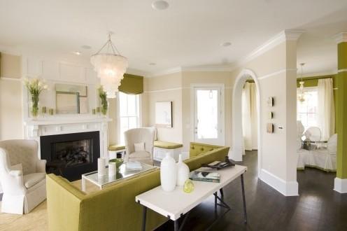 стильная бело-зеленая гостиная