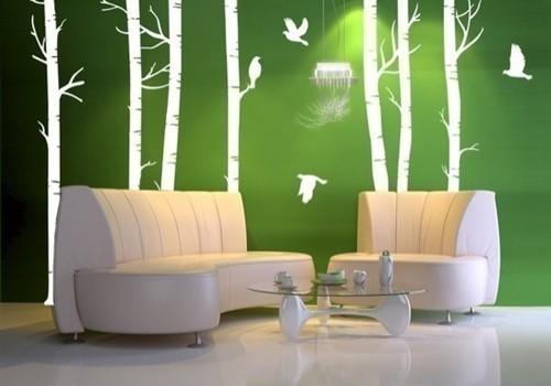 гостиная в зелено-белой гамме