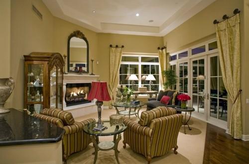 оливковая гостиная в классическом стиле