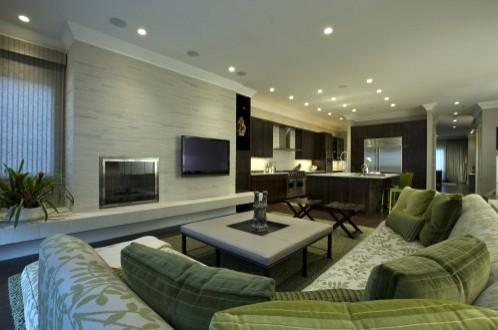 зеленый декор в современной гостиной