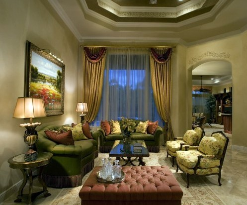 классическая гостиная в зеленой гамме