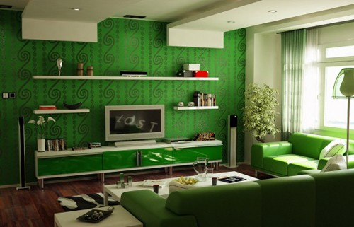 зеленый цвет в интерьере современной гостиной