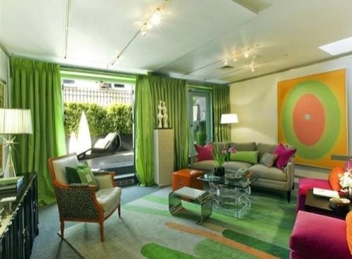оригинальная зеленая гостиная