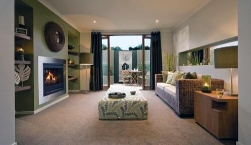 зеленый цвет в стильной современной гостиной