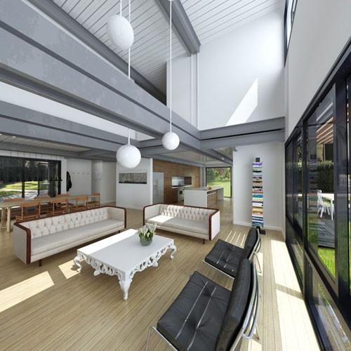 черно-белый интерьер модульного дома