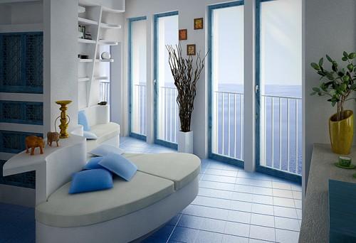 белый интерьер с голубым и золотистым декором