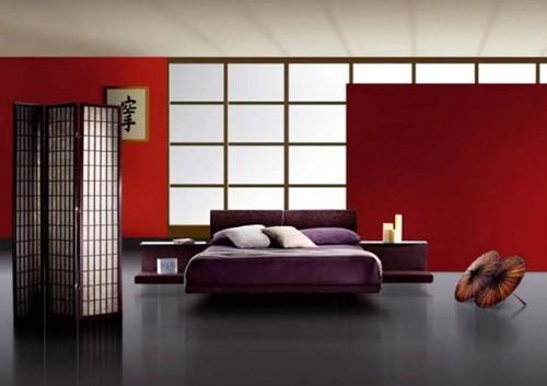 ширма в японском дизайне спальни