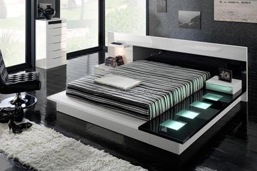 современный интерьер черно-белой спальни