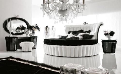 роскошная черно-белая спальня