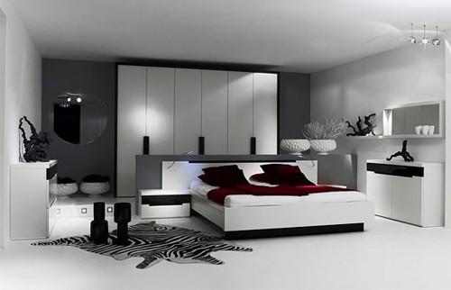 черно-белая спальня с нейтральным фоном