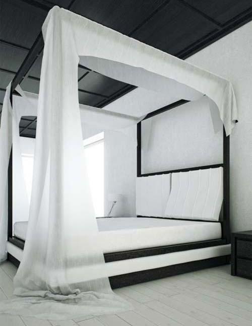 черно-белая спальня традиционного стиля