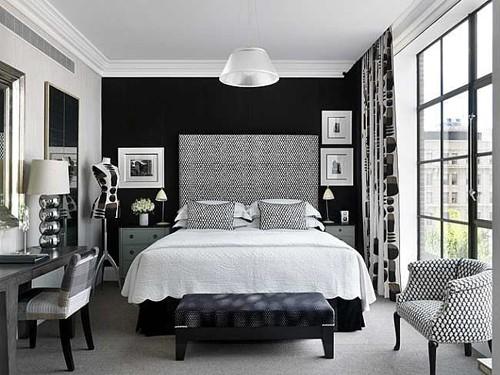черно-белый декор для ахроматической спальни