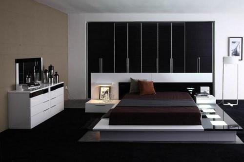 современное освещение в черно-белой спальне