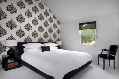 орнаментальный фон в черно-белой спальне
