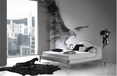 черно-белая спальня с серым фоном