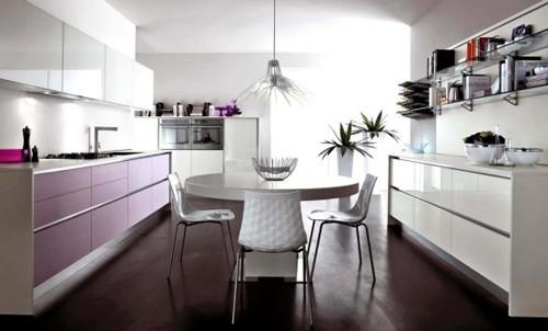 черный и сиреневый в интерьере кухни