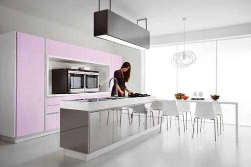 сиреневый цвет в интерьере кухни современного стиля