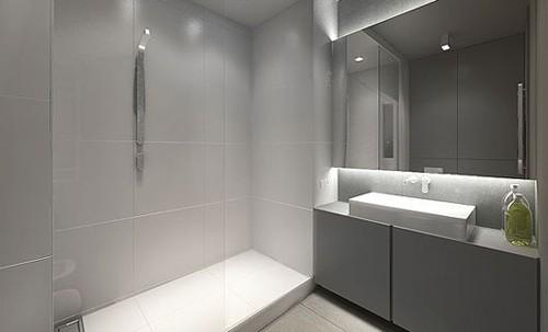 серый дизайн ванной