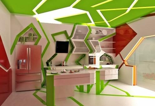 дизайнерский интерьер кухни с открытыми полками