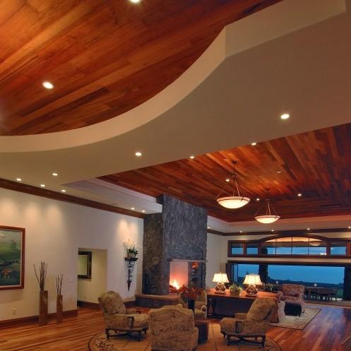 дизайн комбинированного двухуровневого потолка