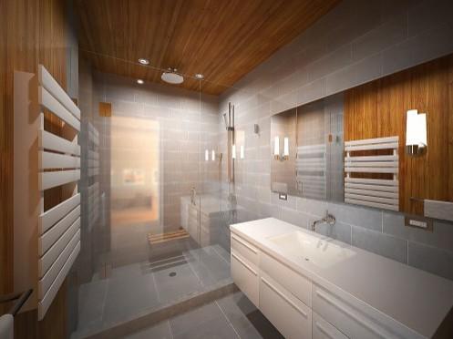 дизайн потолка из дерева в ванной