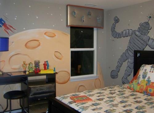 роспись стен в интерьере для мальчика