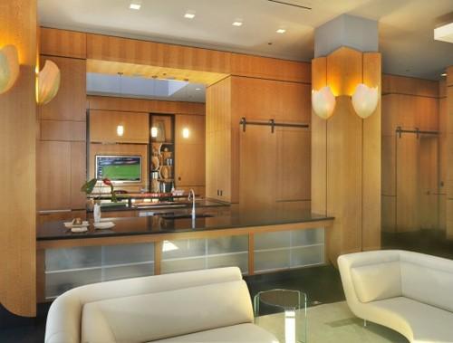 зонирование гостиной и кухни в студии