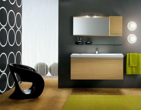 зеленые элементы в сером дизайне ванной комнаты