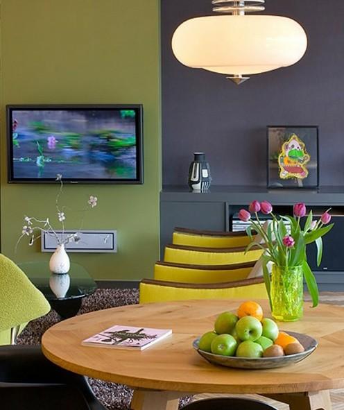 сочетание зеленого и желтого в современном интерьере