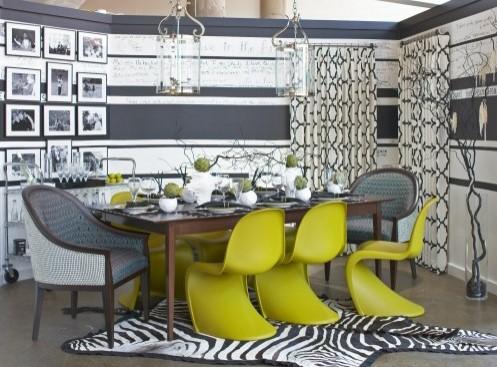 зеленый цвет в сером интерьере столовой