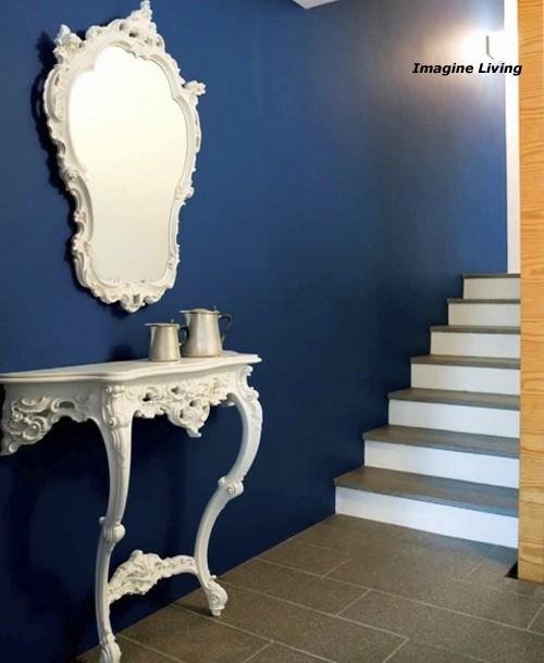 интерьер необарокко в сине-белой гамме