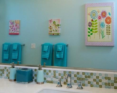 оформление интерьера детской ванной