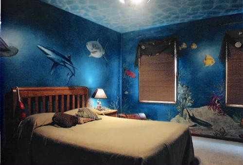 спальня аквариум с росписью
