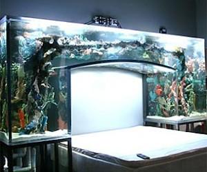 потрясающий аквариум в интерьере спальни
