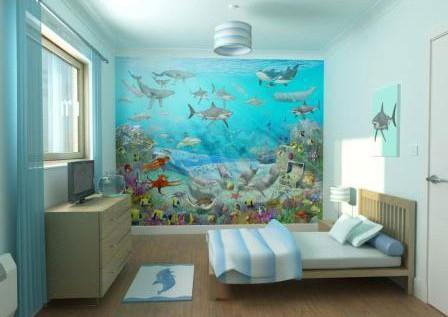 фотообои вместо аквариума в спальне
