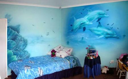 роспись с дельфинами в спальне