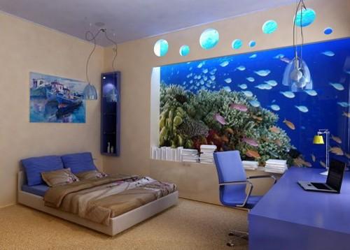 аквариум в спальне в виде обоев